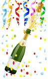 Open bottle of champagne and cork. Vector illustration Royalty Free Stock Image