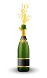 Open bottle of champagne on a white background Royalty Free Stock Images