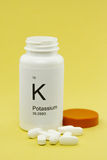 Open bottle of Potassium vitamins Stock Photo