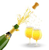 Open bottle and two glasses with champagne Stock Photography