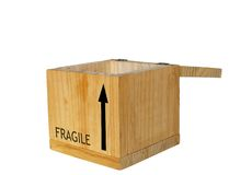 Open box. Open wooden box over white Royalty Free Stock Photo