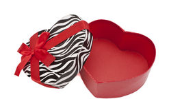 Open box. Open empty red gift  Heart shaped box Royalty Free Stock Images