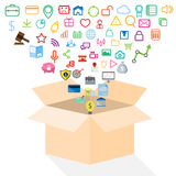Open box of application icon concept Royalty Free Stock Images
