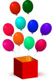 Open box with balloons Royalty Free Stock Photo