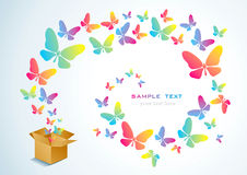 Open box and the butterfly. Open cardboard box with colorful butterflies flying Stock Photography
