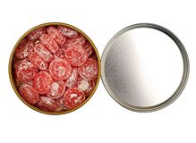 Open box with candy isolated Royalty Free Stock Photography