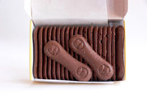 Open box of chocolate wafers Stock Image