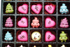 Open box of chocolates. In tray Royalty Free Stock Images