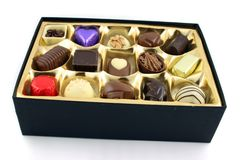 Open Box of Chocs. Close up of Luxury Chocolates Royalty Free Stock Image