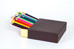 Open box and color pancil isolated on a white Royalty Free Stock Images