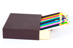 Open box and color pancil  on a white Royalty Free Stock Image