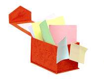 Open box with color reminder notes Stock Photos