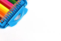 Open box of colored pencils Stock Images