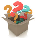 Open box with colour questions. Isolated 3D image Stock Photography