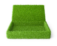 Open box covered a green grass. 3d image  on a white background Stock Image