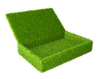 Open box covered a green grass. 3d image  on a white background Royalty Free Stock Photo