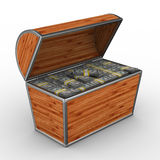 Open box with dollars on white background Royalty Free Stock Image