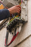 Open Box Fiber Optic Cabling. Installing open box in front of efificio distribution cabling Fiber Optic Royalty Free Stock Images