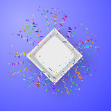 Open box with fireworks from confetti vector. Illustraion Stock Photo