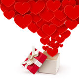 Open box with flying hearts Stock Photography
