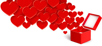 Open box with flying hearts Royalty Free Stock Photography