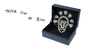 Open box freehand sketch think out of box idea concept stock image