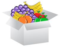 Open box in fruits Stock Photo