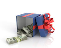 Open box Gift Box with dollar bills. On a white background Stock Image