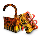 Open box gift tiger tape red and tail Royalty Free Stock Photography