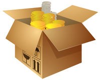 Open box with golden and silver coins Stock Images
