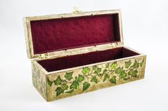 Open box with handmade floral motif. Stock Image