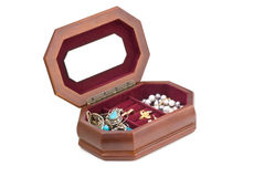 Open box. Jewels inside. Royalty Free Stock Photos
