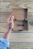 Open box and key Stock Photography