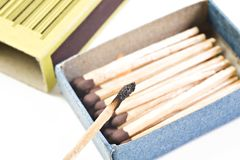 Open box of matches Stock Images