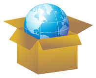 Open box in new globe Stock Photo