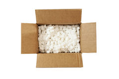 Open box with packing 'peanuts' inside Stock Images