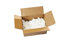 Open box with packing 'peanuts' inside Royalty Free Stock Photography