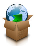 Open box with planet earth. Conceptual image of the Planet Earth in a cardboard box with the inscription FRAGILE. Vector Illustration Stock Images