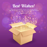 Open box postcard. Open carton gift box best wishes postcard with dark background vector illustration Stock Photo