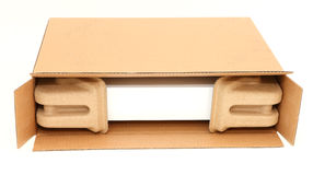 Open box with protective packaging. Open cardboard box / parcel with protective secure packaging visible inside Stock Image
