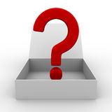 Open box with question Royalty Free Stock Photo