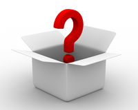 Open box with question Royalty Free Stock Image