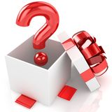 Open box with question. Isolated Royalty Free Stock Photos