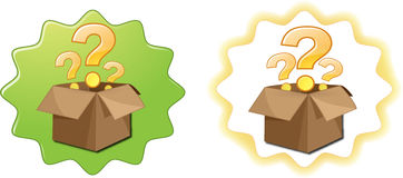 Open box question mark. Two boxes with question marks on a green background and white with yellow (what to give?, what to gift Stock Image