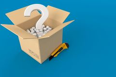 Open box with question mark. On blue background. 3d illustration Royalty Free Stock Photo