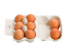 Open box of raw brown eggs Royalty Free Stock Photos