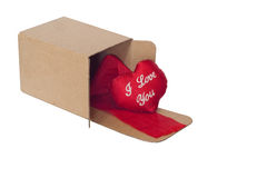 Open box and a red heart Stock Images