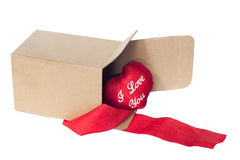 Open box and a red heart Royalty Free Stock Photos