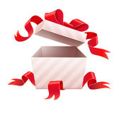 Open box with ribbon for holiday gift Stock Image