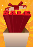 Open box with sale messages Stock Images